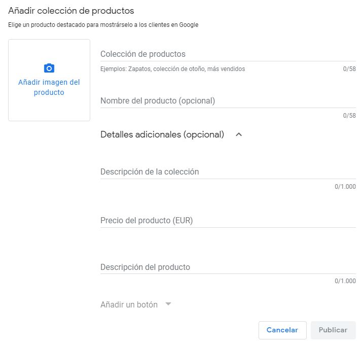 Añadir productos a Google My Business