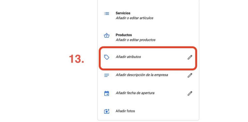 atributos en google my busines