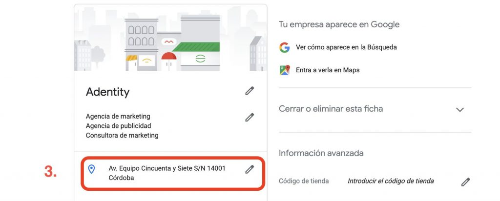 dirección en google my business