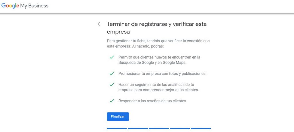 Finalizar registro en Google My Business