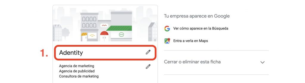 Nombre en Google My Business