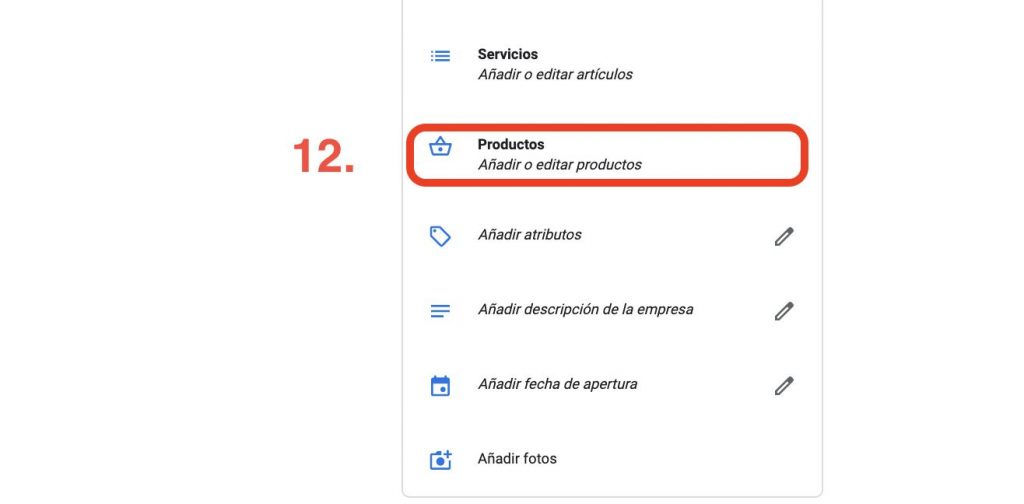 productos en Google my business