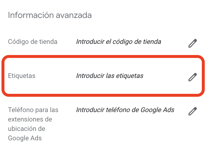 google my business etiquetas